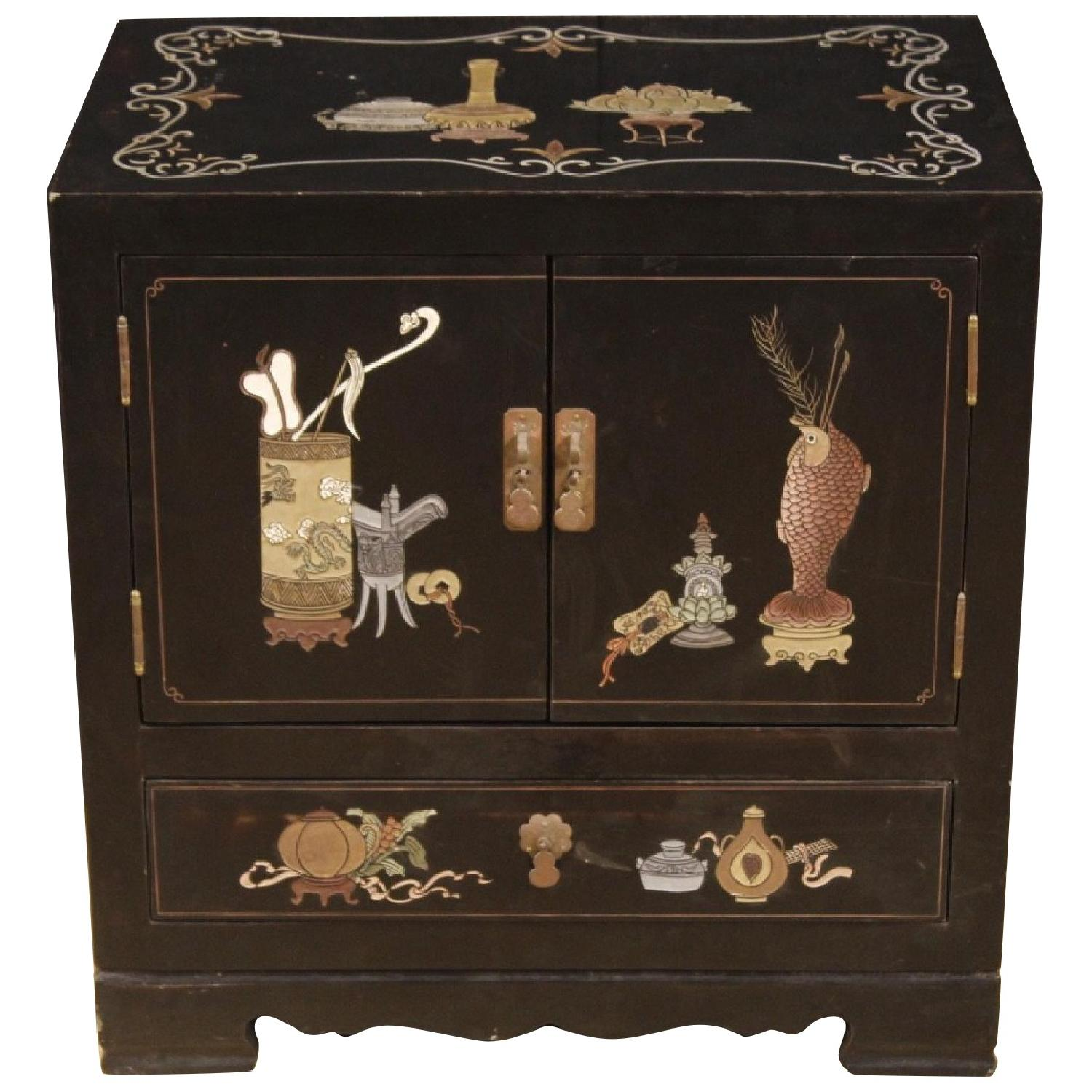 French Lacquered & Painted Wood Bedside Table
