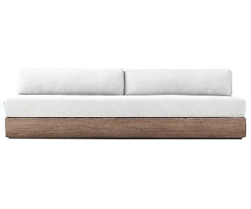 Restoration Hardware Marbella Weathered Teak Armless Sofa