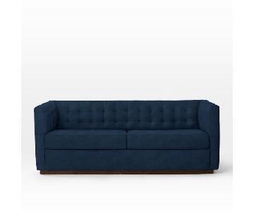 West Elm Rochester Velvet Ink Blue Sofa