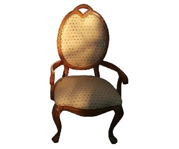Thomasville Queen Anne Upholstered Chairs w/ Pecan Arms