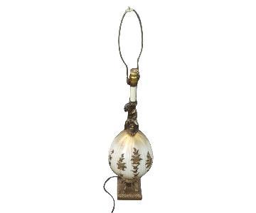 Vintage Satin Art Glass Cherub Floral Brass Table Lamps