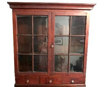 Vintage Glass Door Cabinet w/ Drawers