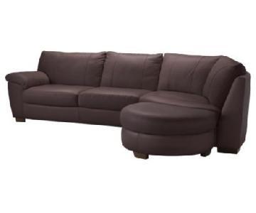 Ikea Vreta Brown Leather Corner Sectional Sofa