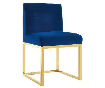 Joss & Main Blue Velvet Side Chair w/ Gold Metal Legs