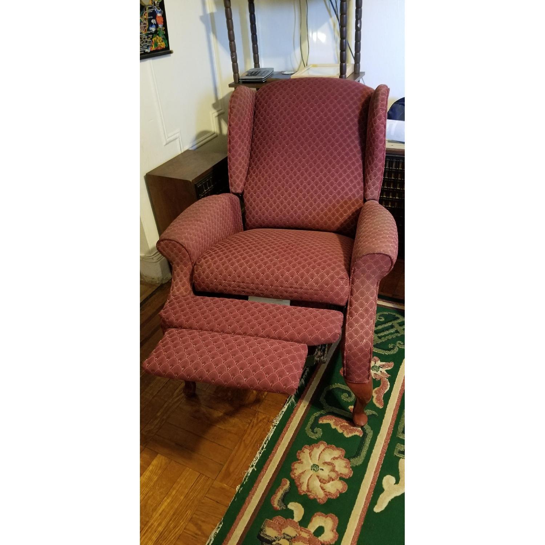 ... J C Penny Burgundy Fabric Recliner Chair 0 ...