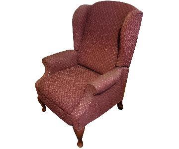 J C Penny Burgundy Fabric Recliner Chair