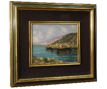 Italian Signed Seascape Oil On Canvas Painting