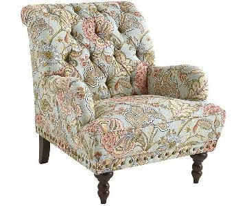 Pier 1 Chas Collection Blue Floral Armchair & Ottoman