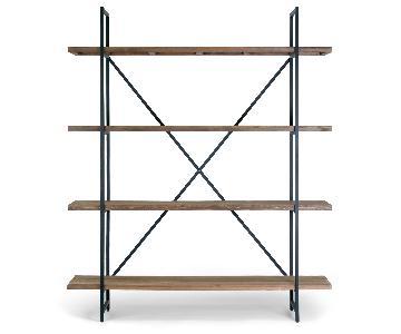 Ailis Brown Wood & Metal 4-Shelf Etagere Bookcase