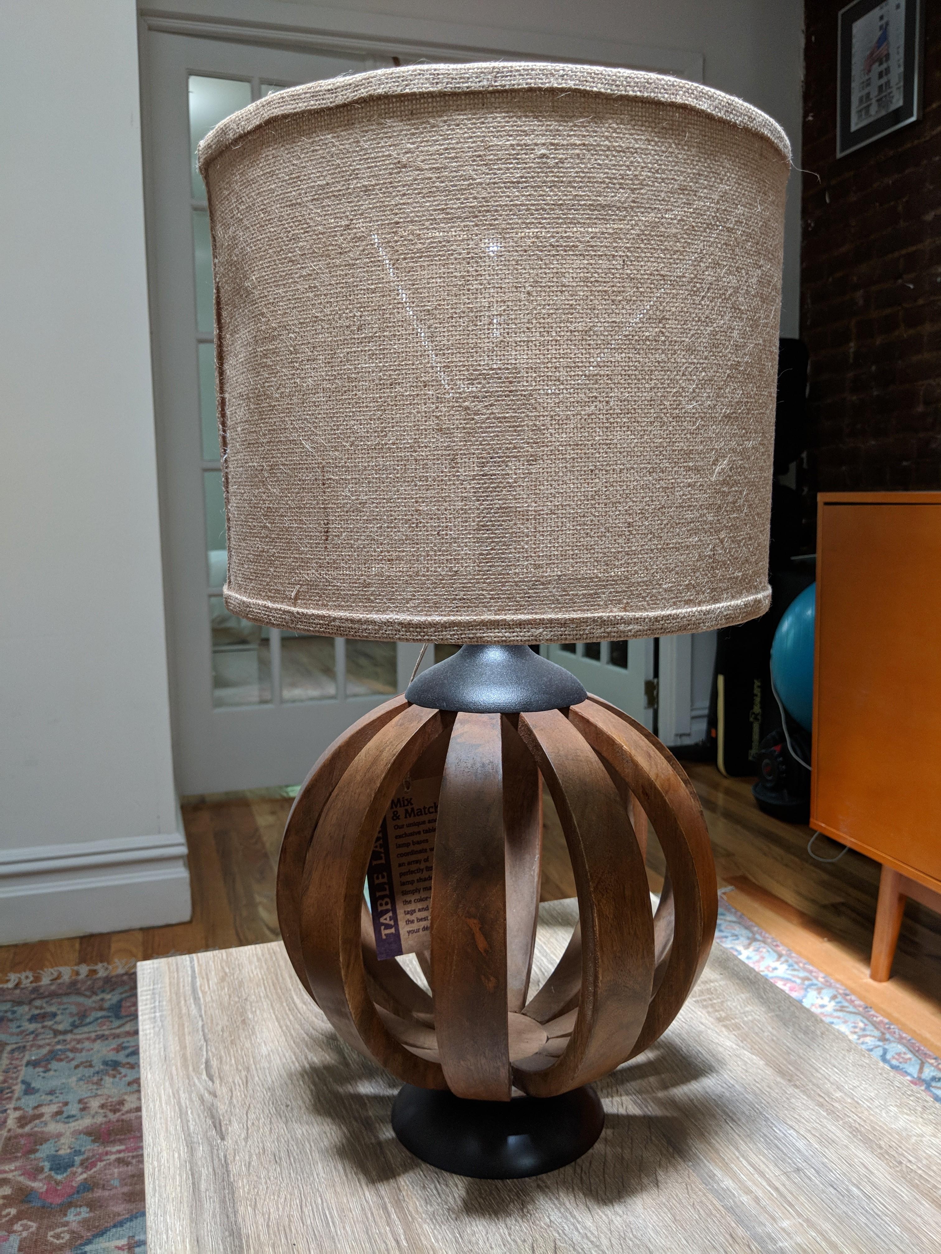 World Market Wood Barrel Table Lamp Base W/ Burlap Shade ...