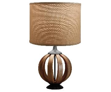 World Market Wood Barrel Table Lamp Base w/ Burlap Shade