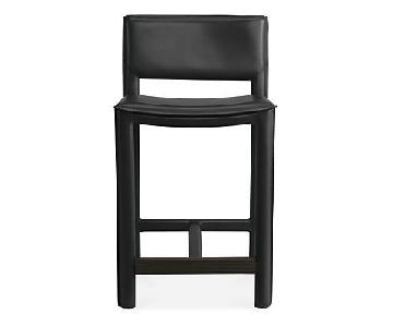 Room & Board Madrid Black Leather Counter Stools