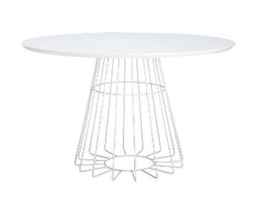 CB2 Compass Round White Dining Table