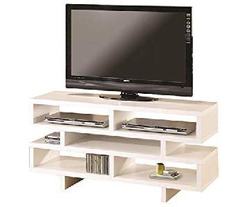 Coaster Contemporary White TV Console w/ Open Storage