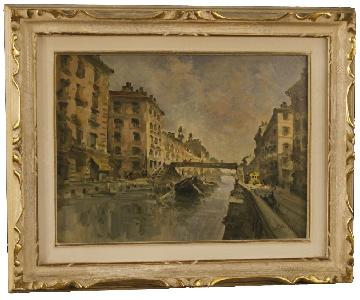 Italian Landscape Painting View Of Milan Navigli