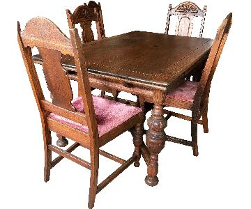 Antique Hand-Carved Oak Dining Table w/ 6 Chairs