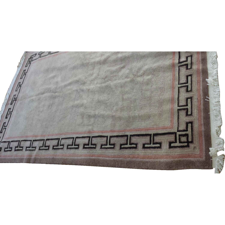 Beige Pink Plush Wool Rug