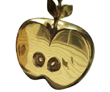 Grico Solid Brass Tilted Apple Halves Bookends