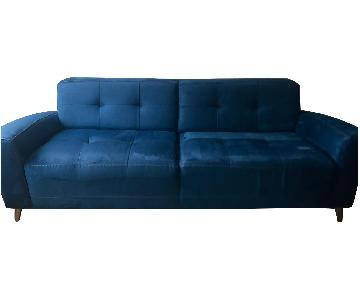 Macy's Pacific Blue Urban Suede Sofa + Matching Arm Chair