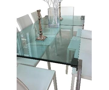 BoConcept Glass & Metal Dining Table w/ 10 Chairs