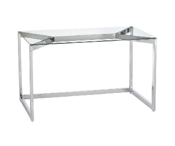 CB2 Modern Writing Desk w/ Chrome Metal Frame & Glass Top