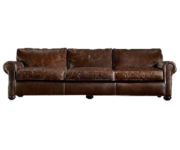 Restoration Hardware Lancaster Leather Sofa & Ottoman
