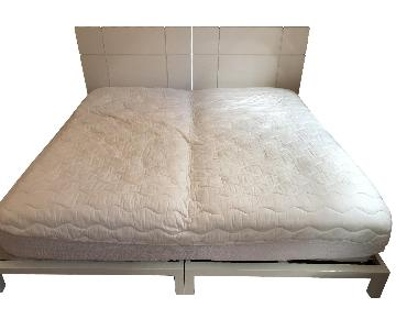 White Lacquer Twin Size Bed Frame