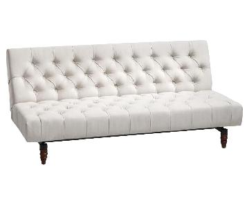 World Market Tufted Cream Convertible Sofa
