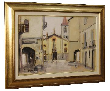 Italian Signed & Dated Painting View Of The City