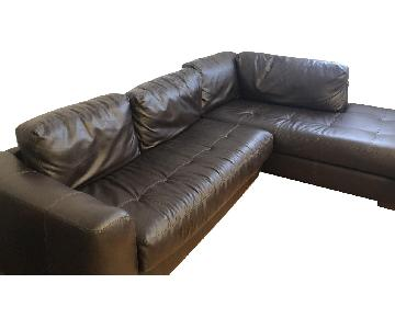 Jennifer Convertibles Faux Leather 2-Piece Sectional Sofa