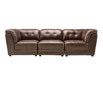 Raymour & Flanigan 3-Piece Leather Modular Sectional Sofa