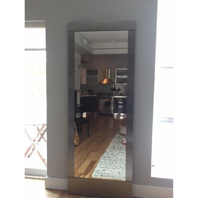 Crate & Barrel Colby Nickel Floor Mirror - AptDeco