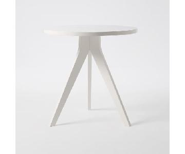 West Elm Tripod Table in White Lacquer