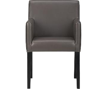 Crate & Barrel Lowe Smoke Leather Dining Arm Chair