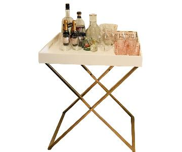 West Elm White Lacquer Butler Tray & Metal Stand