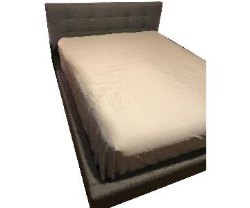 Queen Size Upholstered Bed Frame w/ Tufted Headboard