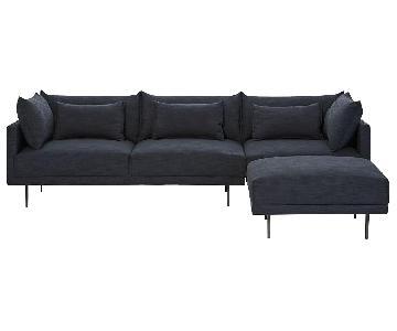 West Elm Halsey Left Arm Chaise Sectional Sofa in Indigo