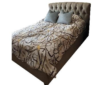 Baker Furniture Upholstered Full Bed w/ Tufted Headboard