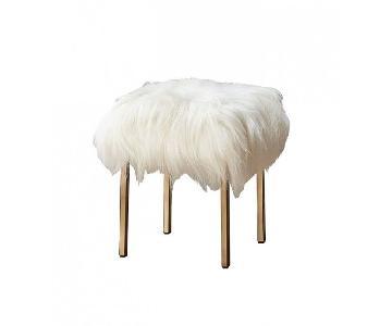CB2 Fuzzy Sheepskin Stools