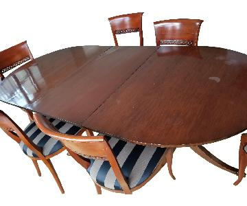 Antique Wood Dining Table w/ 8 Chairs