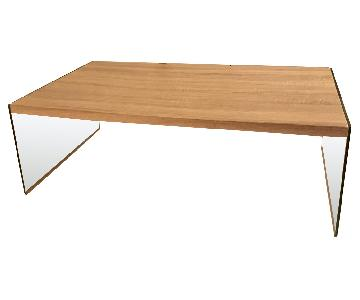 Light Wood Coffee Table w/ Glass Panel Legs