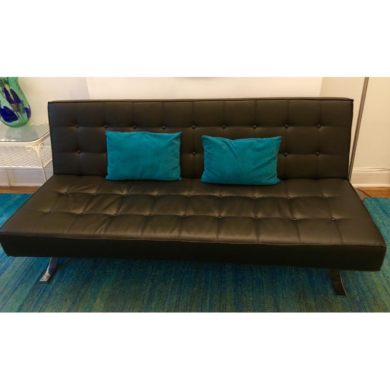 Contemporary Black Faux Leather Sofa Bed W Chrome Legs Aptdeco