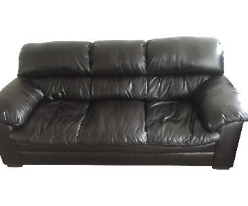 Big Lots Black Leather Sofa + Recliner