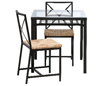 Glass Top Dining Table w/ 2 Rattan Seat Dining Chairs