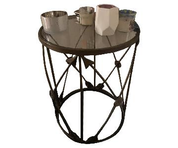 Pier 1 Bronze Iron & Glass Side Table