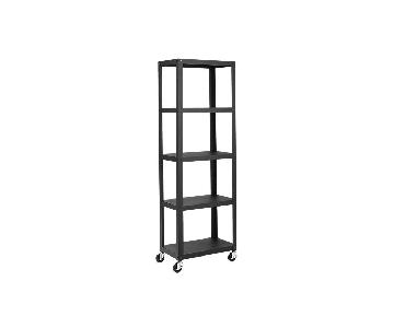 CB2 Go-Cart Black 5-Shelf Rolling Bookcase