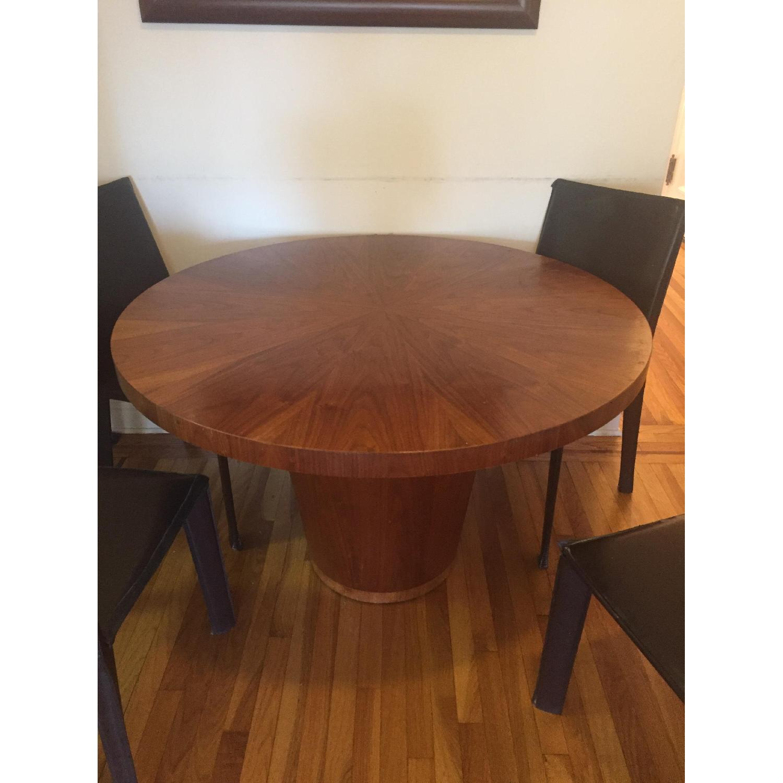 round walnut dining table. Crate \u0026 Barrel Orion Round Walnut Dining Table-0 Table