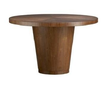 Crate & Barrel Orion Round Walnut Dining Table