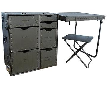 Vintage US Military Foldout Desk/Side Table