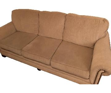 Peter Andrews Beige Linen Sofa w/ Nailheads